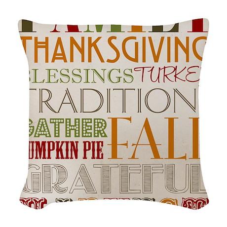 Happy Thanksgiving Subway Art Woven Throw Pillow