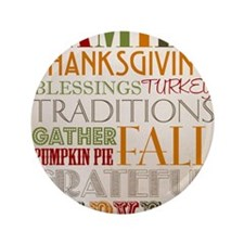 "Happy Thanksgiving Subway Art 3.5"" Button"