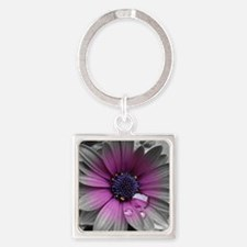 Wonderful Flower with Waterdrops Square Keychain