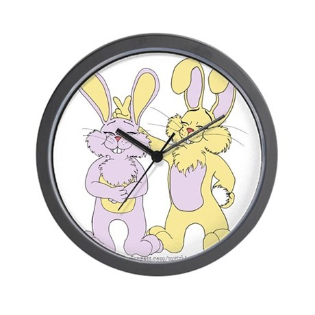 Funny Bunny Ears Cartoon Wall Clock