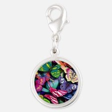 butterfly large Silver Round Charm