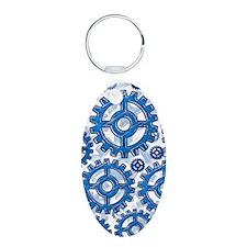 Blue gear wheels Keychains