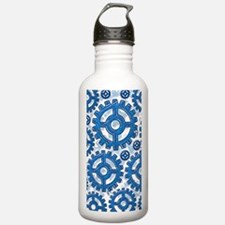 Blue gear wheels Water Bottle