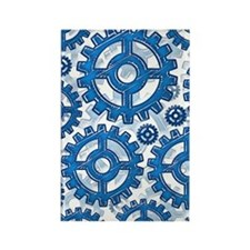Blue gear wheels Rectangle Magnet