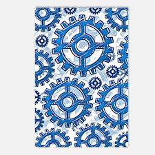 Blue gear wheels Postcards (Package of 8)