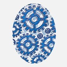 Blue gear wheels Oval Ornament