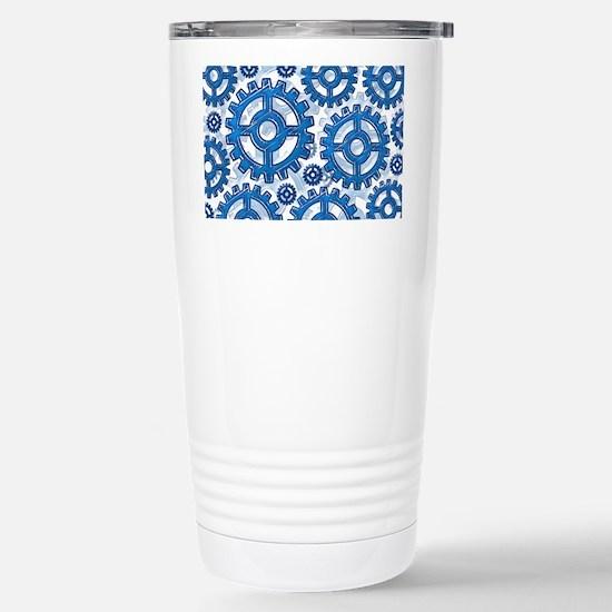 Blue gear wheels Stainless Steel Travel Mug