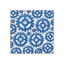 "Blue gear wheels Square Sticker 3"" x 3"""