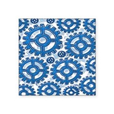 "Blue gear wheels Square Sticker 3"" x 3"""