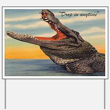 Vintage Alligator Postcard Yard Sign