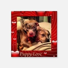 "Puppy Love Square Sticker 3"" x 3"""