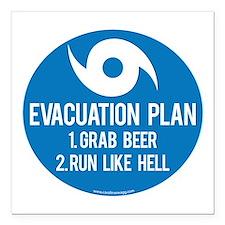 "Hurricane Evacuation Pla Square Car Magnet 3"" x 3"""