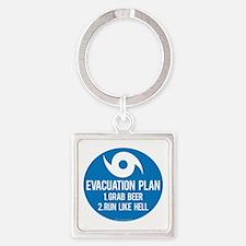 Hurricane Evacuation Plan Square Keychain