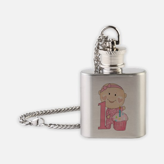 First Birthday (Girl 2 Design) Flask Necklace