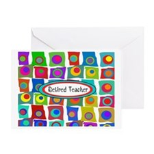 Retired TEacher funky squares 2 Greeting Card