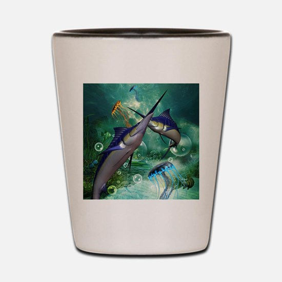 Awesome marlin with jellyfish Shot Glass