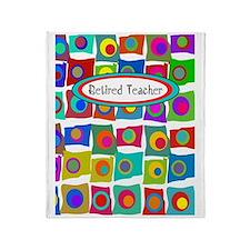 retired teacher funky squares Vertic Throw Blanket