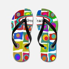 retired teacher funky squares Vertical Flip Flops
