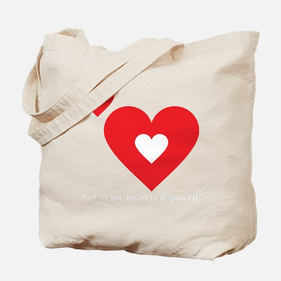 Part of my Heart Is Deployed (Hubby Dark) Tote Bag