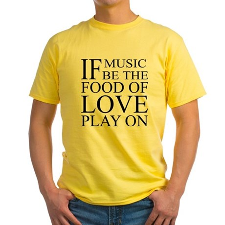 Music-Food-Love Quote Yellow T-Shirt