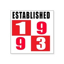 "Established 1993 Designs Square Sticker 3"" x 3"""