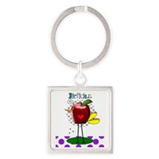 Dietician Apple Purple Square Keychain
