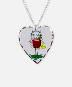 Retired Dietician Apple Blue Necklace