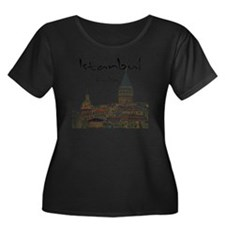 Istanbul Women's Plus Size Dark Scoop Neck T-Shirt