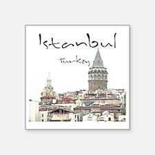 """Istanbul_12X12_GalataTower Square Sticker 3"""" x 3"""""""