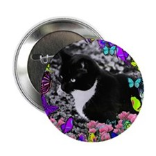 """Freckles the Tux Cat in Butterflies I 2.25"""" Button"""