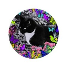 "Freckles the Tux Cat in Butterflies II 3.5"" Button"