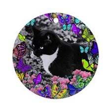 Freckles the Tux Cat in Butterflies Round Ornament