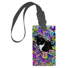 Freckles the Tux Cat in Butterfl Luggage Tag