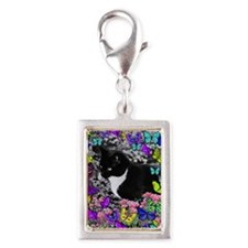 Freckles the Tux Cat in Butt Silver Portrait Charm