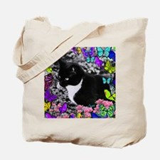Freckles the Tux Cat in Butterflies II Tote Bag