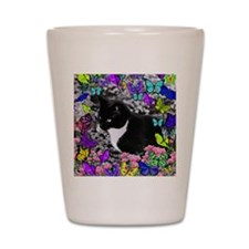Freckles the Tux Cat in Butterflies II Shot Glass