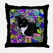 Freckles the Tux Cat in Butterflies I Throw Pillow