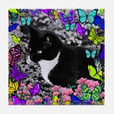 Freckles the Tux Cat in Butterflies I Tile Coaster