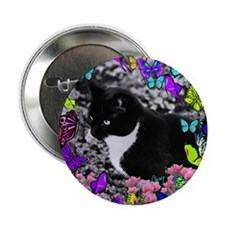 "Freckles the Tux Cat in Butterflies I 2.25"" Button"