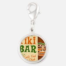 Tiki Bar  Silver Round Charm