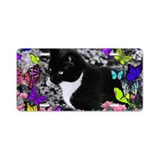 Freckles the Tux Cat in But Aluminum License Plate