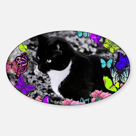 Freckles the Tux Cat in Butterflies Sticker (Oval)