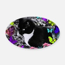 Freckles the Tux Cat in Butterflie Oval Car Magnet
