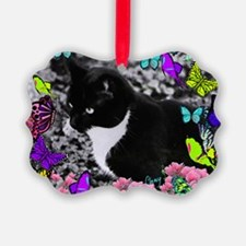 Freckles the Tux Cat in Butterfli Ornament