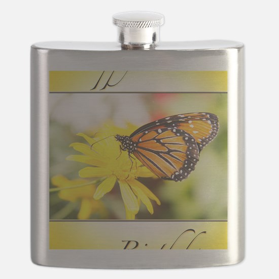 Happy Birthday Monarch Butterfly And Dahlia Flask