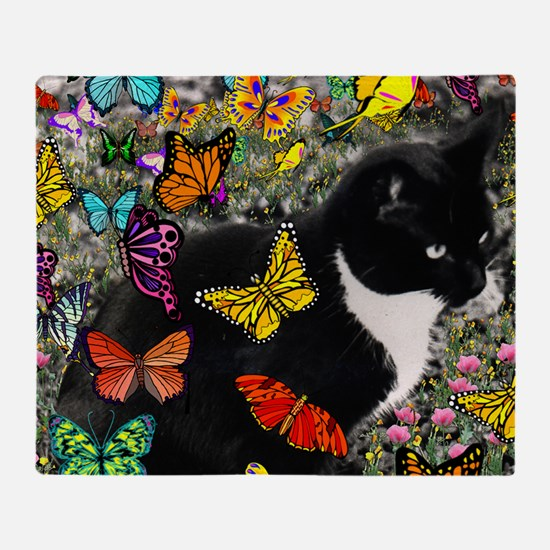 Freckles the Tux Cat in Butterflies  Throw Blanket