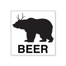 "Beer. Bear with Deer Antler Square Sticker 3"" x 3"""