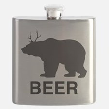 Beer. Bear with Deer Antlers Flask