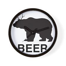 Beer. Bear with Deer Antlers Wall Clock