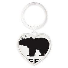 Beer. Bear with Deer Antlers Heart Keychain